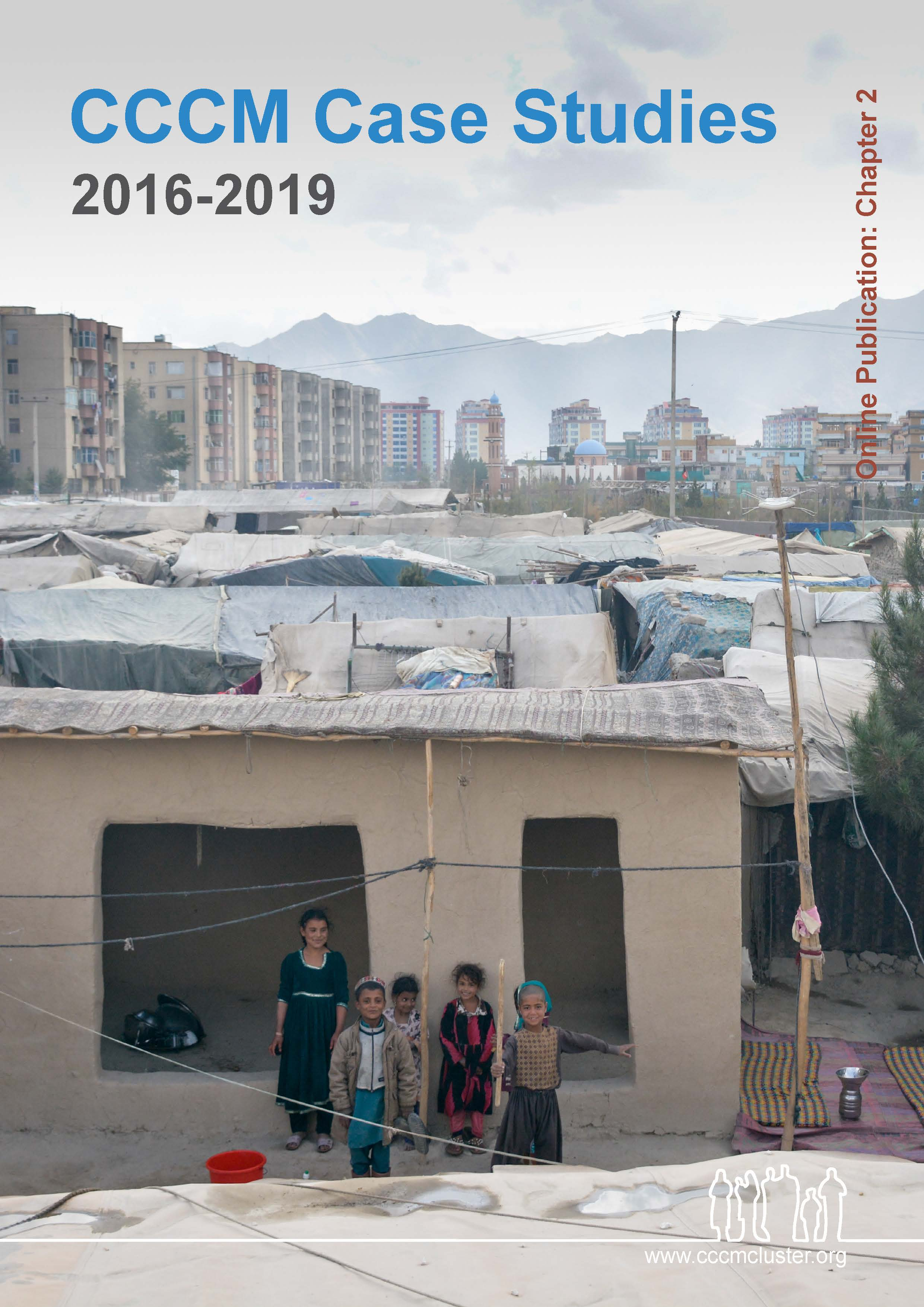 CCCM_Case Studies 2016 - 2019 online publication chapter 2 - six children stand outside their home in Kabul smiling and playing with sticks, in the background is the horizon line of the city then the mountains